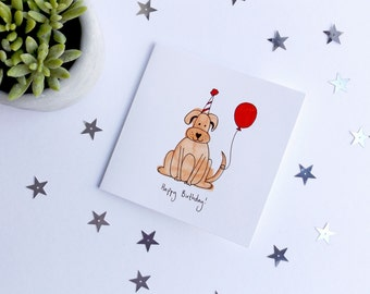 Brown dog birthday card with red balloon and birthday hat illustrated card. Dog birthday card. Dog lover birthday card.