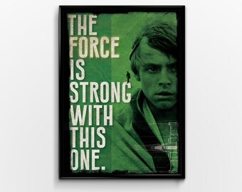 Star Wars : Luke Skywalker Typography Quote Poster Print