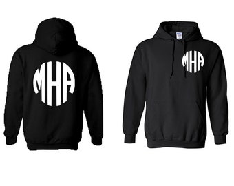 Monogram custom Hoodie front and back, Personalized Initials  ,wedding gift, Anniversary gift