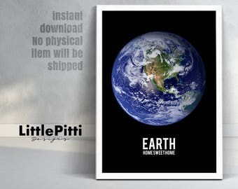 Earth print, earth art, space print, planet earth wall art, planet print, astronomy print, space art, earth from space, earth photography