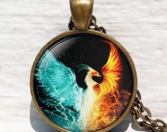 Fire and Water Necklace,Firebird Jewelry, Phoenix pendant, Phoenix Art necklace, Phoenix Hand drawing, Phoenix Key Chain