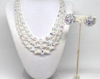 Gorgeous Triple Glass Strand Crystal Silver Tone Vintage Estate Necklace