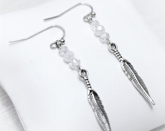 Silver White Crystal Feather Earrings