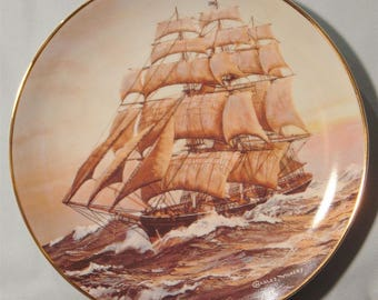 "Golden Age of Clipper Ships ""Davy Crockett at Daybreak"" Collector's Plate - NIB"