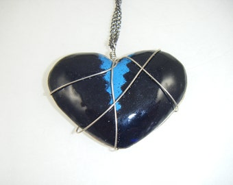 Black and Blue Wrapped Heart Pendant