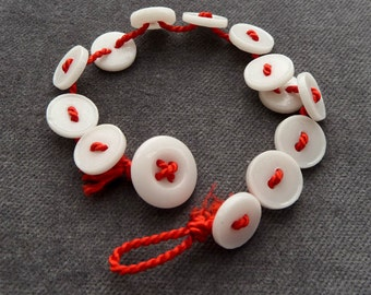Bright Red Bracelet with small china buttons