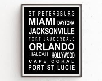 Subway Sign Style Print, Miami Bus Scroll, Miami Print, Miami Poster, Miami Sign Art, Bus Line Scroll, Orlando, Subway Style Wall Art,