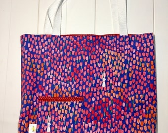 Reversible Tote Bag. Errand Bag. Library Bag. Gift Bag. Blue With Pink Tulips and Rabbits. Tiny White Hearts on Red Lining