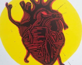The walking heart - Original screenprint/Serigraphie