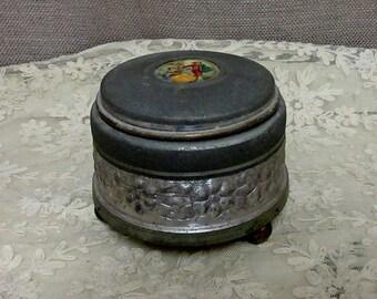 Vintage Aluminum Powder or Trinket Box, c1930s;Vintage Music Box; Spun Aluminum Powder or Trinket Box