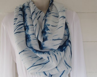 Hand-dyed habotai silk scarf, 14 x 70 inches, indigo, bomaki shibori
