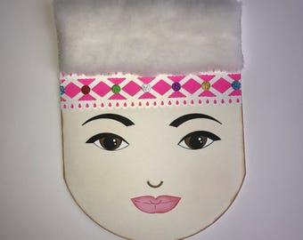 Hmong Woman Face greeting card fluffy hat