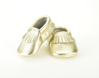 Gold leather baby moccasins 0-3 months 3-6 months 6-12, 12-18 months baby shoes