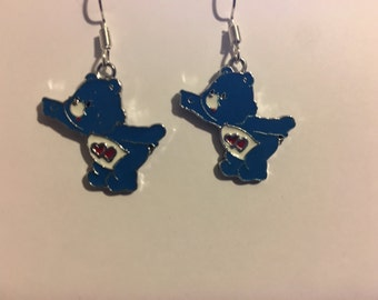 Blue Care Bear Earrings   P47