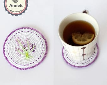 Lavender Coasters / Coasters / Crochet Coasters / Home Decor/ Flower Coasters / Gift for her / Table Coaster / Spring coaster/Purple coaster
