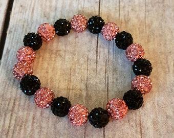 Pink and Black Shambala Bracelet