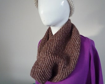 Dark brown hand knit wool and hemp cowl
