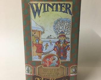 Beautiful retro Kanis Gunnink coffee tin decorated with seasons- 1970s