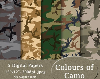 5 Digital Paper Backgrounds - Colours of Camo - Camouflage - Printable or Digital Scrapbook Paper #68
