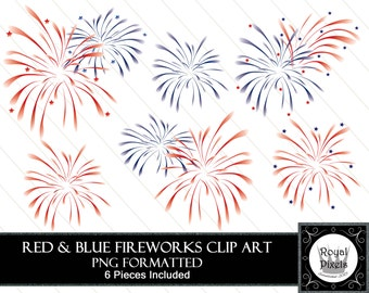 Red and Blue Fireworks - Patriotic Clip art Set - 6 Pieces - Instant Download #29