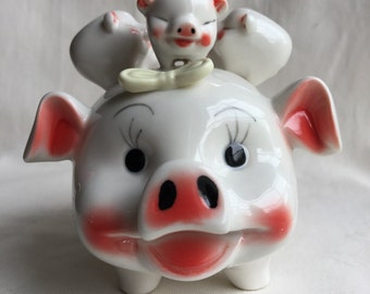 Vintage Piggy Bank With Five Piglets-Piggy Back