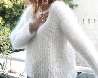 Mohair Sweater,oversize sweater,  pullover, oversize,hand knitted -