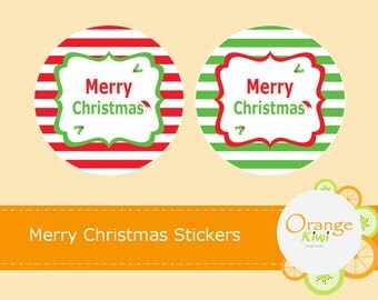 Merry Christmas Stickers, Christmas Envelope Seals Party Favor Napkin Ring Cupcake Toppers, Christmas Party Stickers, Holiday Stickers, Xmas