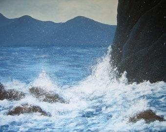 Acrylic painting acrylic painting painting canvas painted mural waves water surf coast sea spray