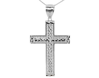 10k Large White  Gold Cross Necklace