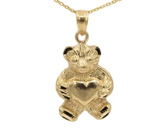 14k Yellow Gold Teddy Bear Necklace