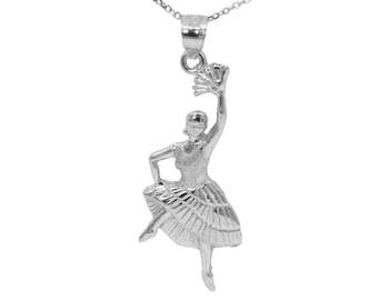 10k White Gold Flamenco Dancer Necklace