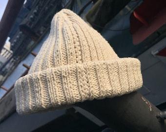Beanie / Watch Cap, hand knitted Ecru