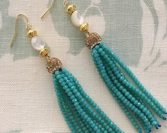 Aqua Tassel Earrings - turquoise, pearl, gold, beaded, party jewelry