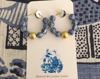 Chinoiserie Hoop Earrings | blue and white, gold, hoops, dainty