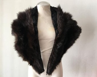 Brown and black color women's soft fur collar, made from fur, fluffy and velvet fur, festive look, for party, vintage style, size-universal.