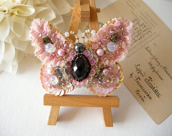 Pink Butterfly jewelry Shabby chic jewelry Butterfly brooch Bead embroidered butterfly Pale pink brooch Butterfly pin Rustic wedding jewelry