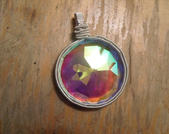 Wire wrap Kaleidoscope Monocle pendant w/ silver plated wire