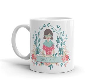 Custom Portrait Mug, with teal and pink flowers