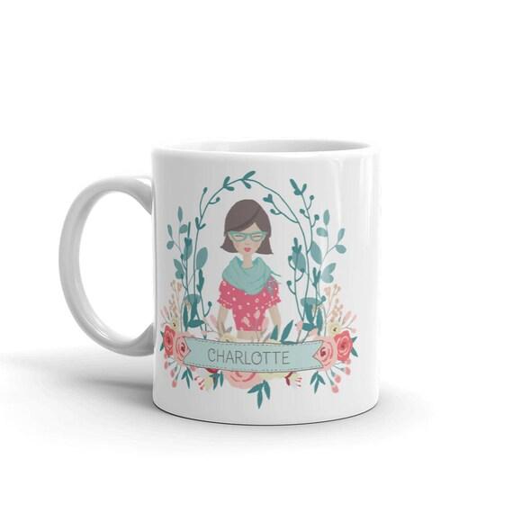 Custom Portrait Mug, with teal and pink flowers