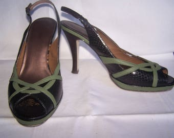 Black and green sandal heels, Size 10
