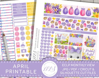 April Planner Stickers for Erin Condren Life Planner, April Monthly View Kit, Easter Planner Stickers,  Printable Planner Stickers, MV122