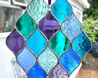 Stained Glass Sea Colours Blues Greens Purples Abstract Glass Art Suncatcher Designed & Handmade by The Glass Sea