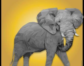 Elephant Print, Baby Elephant, Square Print, Elephant Low Poly Design, Nursery Decor, Elephant Poster