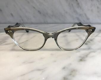 unused vintage rhinestone cat eye (grey)