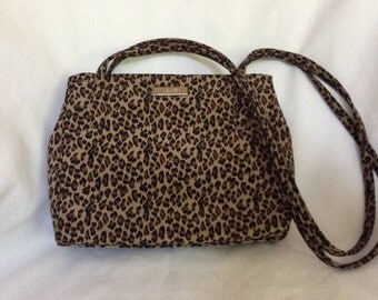 Nine West Small Leopard Print Purse Handbag - Magnetic Closure - Double Strap