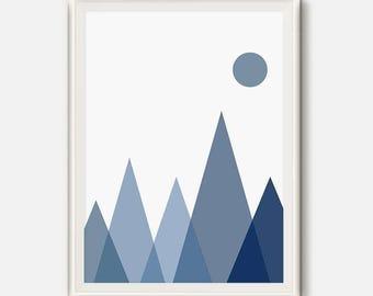 Mountain Art, Nursery Art, Boy Nursery Art, Navy Wall Art, Blue Mountains, Boy Nursery, Navy Nursery Print, Baby Boy Room, Mountain Nursery