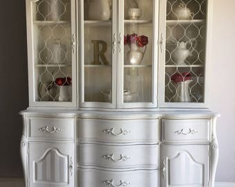 Reloved French Provincial China Cabinet Chalk Painted Located in Tampa Florida