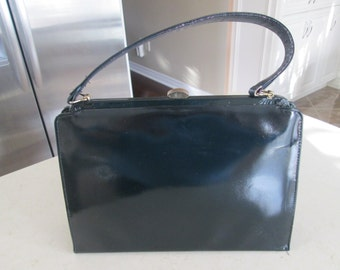 Vintage Navy Blue Patent Purse