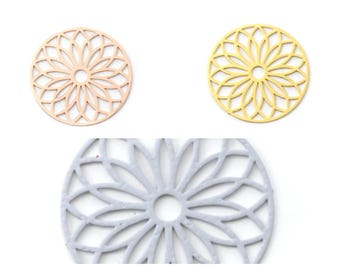 Print / pendant / charm filigree (components) flower 24mm round (Golden, rose gold or gray)