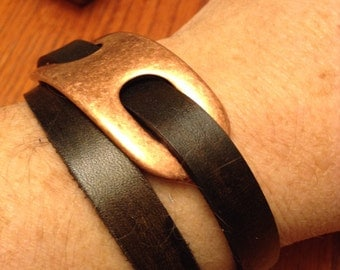 Leather Bracelet; Leather Cuff; Leather Wristband;  With Copper Slider